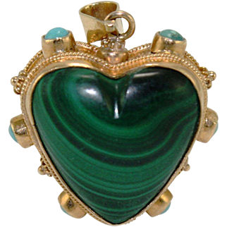 18 kt gold Turquoise and Malachite heart shaped pendant