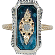 Art Deco gold, agate and pearl ring