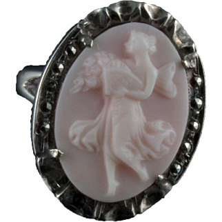 Sterling and carved Angel Skin coral ring