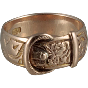 Antique  English 9kt Gold Buckle Ring