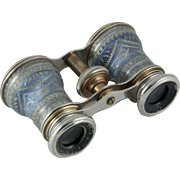 French aluminum  and brass opera glasses