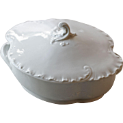 "Haviland & Co ""Marseille"" all white pattern Oval Covered Serving Bowl"