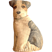Vintage Stuffed Cloth Litho TERRIER DOG
