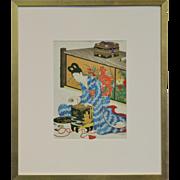 19th Century Original Japanese Wood Block Print by Chikanobu