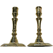 Pair of French 18th century brass candlesticks