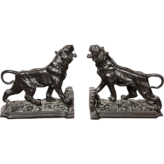 Patinated Bronze Metal Lion Form Bookends - 19th Century