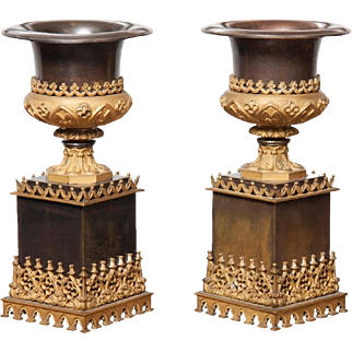 English Bronze and Gilt Metal Urns - Mid 19th Century