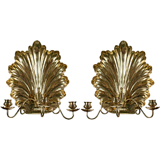 Pair of Brass Shell Form Candle Sconces