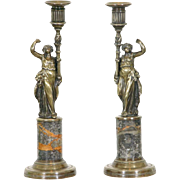 A Pair of French Bronze & Marble Candlesticks - 19th Century