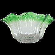 """1920's Steuben Green """"Grotesque"""" Glass Vase/Bowl"""