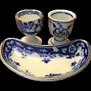 Antique Crumlin Flow Blue Bone Dish PLUS Two Flow Blue Egg Cups