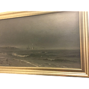 Brenton S. Young 1877 Oil On Canvas Marine Picture