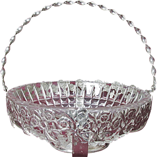 Striking English Silver Plate and Glass Centerpiece Basket  Etched Roses