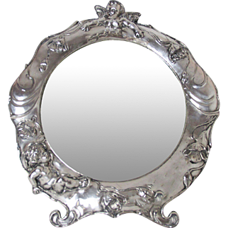 Incredible Silver Plated Art Nouveau Dresser Mirror with Cherubs & Poppies