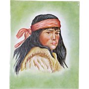 Handsome Hand Painted Tile With Indian Boy Dated & Artist Signed