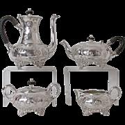 Exquisite 1800's EG Webster & Sons Silver Plated 4- Piece Tea & Coffee Set Repousse Grape Design