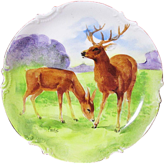 Handsome Limoges Hand Painted Charger Deer And Buck Grazing Artist Signed C: 1906 - 1920