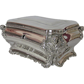 Gorgeous Ornately Decorated 1800's Silver Plated Jewelry Box with Cherubs