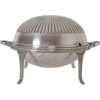 Large English Atkins Bros Silver Plated Roll Top Server