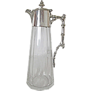 Very Fine English Silver Plated and Crystal Claret Jug