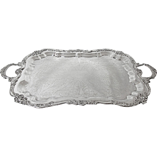 XL Poole Silver Company Silver Plated Footed 2 Handles Tray