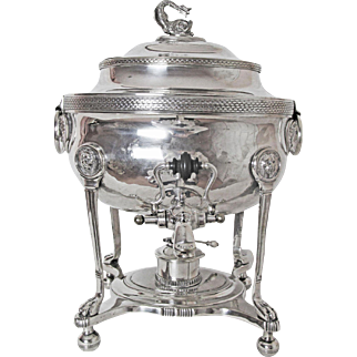 1850's Sheffield Silver Plated Figural Samovar or Coffee Urn with Heating Unit