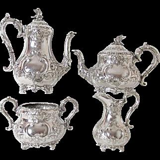Exquisite Circa: 1854 Martin Hall & Co 4 PC Figural Tea & Coffee Service
