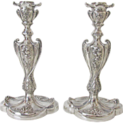 Impressive Pairpoint Silver Plated Art Nouveau Candlesticks
