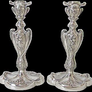Impressive Pairpoint Silver Plated Art Nouveau Candlesticks