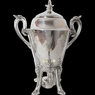Wilcox Silver Plated Samovar or Hot Water Urn Warrior Heads Circa: 1860 - 1870