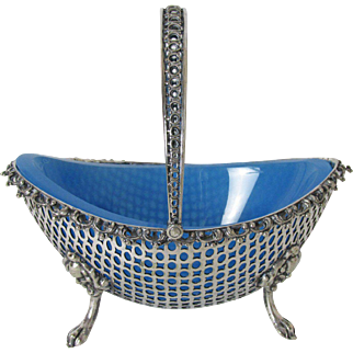 Very Fine English Silver Plate Basket with Opaline Glass Insert Figural Feet