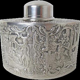Very Fine EG Webster Silver Plate Travel Tea Caddy Striking Repousse Design