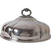 1820's Old Sheffield Silver Plated Meat Dome Cover Armorial Crest Grape Vine Handle