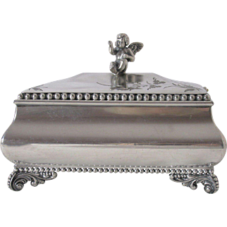 Tufts Silver Plated Footed Jewelry Box Cherub Handle Circa 1880's