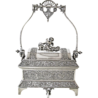 Exceptional John Carrow Silver Plated Jewelry Casket C: 1884 Angel Figure