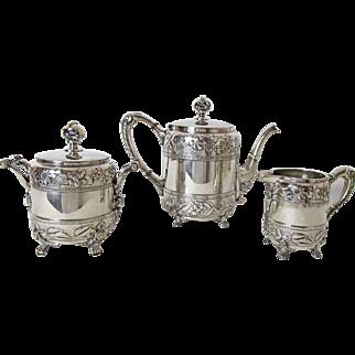 Pristine Circa: 1800's Wilcox 3 PC Aesthetic Period Tea Service