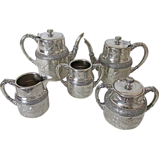Barbour Bros. Silver Plated 5 Pc Tea and Coffee Service Aesthetic Period Design C: 1881 - 1892