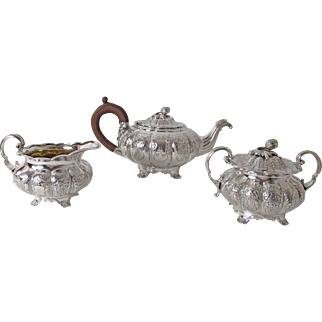 Gorgeous English 3 PC Silver Plated Tea Service  Squash Finial