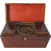Complete Antique English Flame Mahogany Tea Caddy
