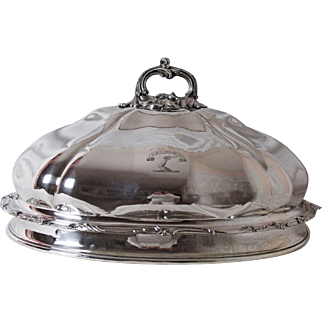 1820's Old Sheffield Silver Plated Meat Dome Platter Cover Armorial Family Crest with Motto