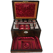 Exquisite Antique 1860's to 1870's Travelers Vanity Cabinet & Jewelry Box In Walnut Veneer Case