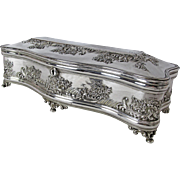 Exquisite Derby Silver Plated Lined and Footed Jewelry Box C: 1870's