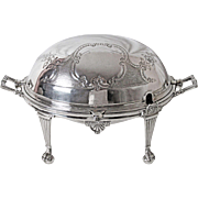 Sheffield Wm. Hutton & Son Silver Plated Roll Top Entre Server Pawed and Ball feet C: 1864 - 1893