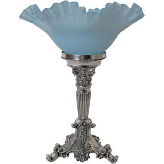 Lovely Victorian Silver Plated and Glass Centerpiece Fruit Bowl