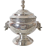 Rare and Exquisite George Eakins Silver Plated Soup Tureen Elephant Handles Maiden Finial