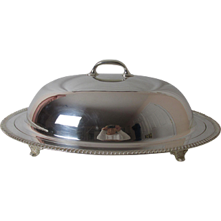 Vintage Crescent Silver Plated Meat Dome Cover with Meat Platter