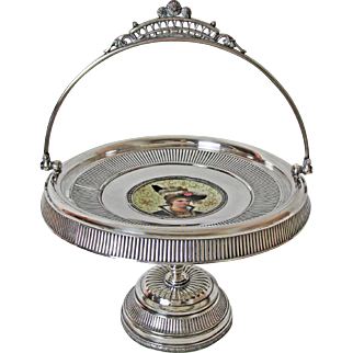 Rare 1850'S Taunton Silver Plate Company Silver Plated Cake Basket or Brides Basket Stunning Portrait Inset