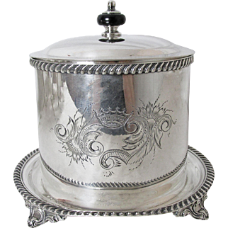 Very Fine Freidman Silver Plated  Biscuit Barrel with Under Plate Crown Crest