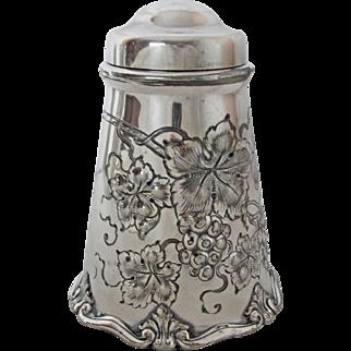 Handsome Homan Silver Plated Tea Caddy Repousse Grape Design
