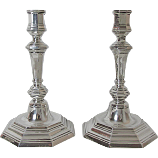 Pair Very Fine Vintage Silver Plated French Christofle Candlesticks Queen Anne Style
